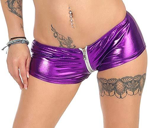 Jela London Damen Hotpants Shorts GoGo Poledance Panty Glitzer Metallic, Lila