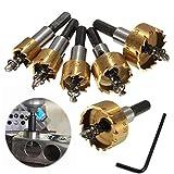 Bits agujero de sierra de perforación del sistema de herramientas de diamante Sierras Set 16-30mm sierra de perforación Brocas 5 x Juego de moldes de acero de alta velocidad Perfecto para perforación