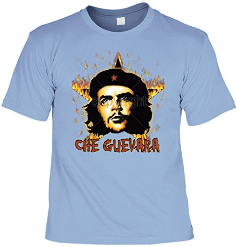 Revolution T-Shirt Che Guevara mit Flammenstern (Größe: L) in skyblau