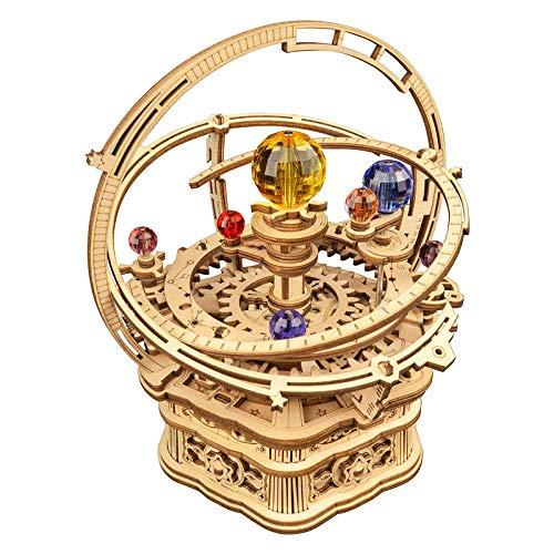 Assemble Wooden Model Starry Night Music Box,Starry Night Music Box Carousel,3D Wooden Puzzle DIY Assemble Mechanical Music Box (Style 2)