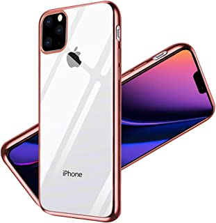 Sankel Compatible for iPhone 11 Pro Clear Case,Women Soft TPU Gel Thin Slim Fit iPhone 11 Pro Cover Electroplated Bumper Transparent Back Protective Cases for Apple iPhone 11 Pro 5.8