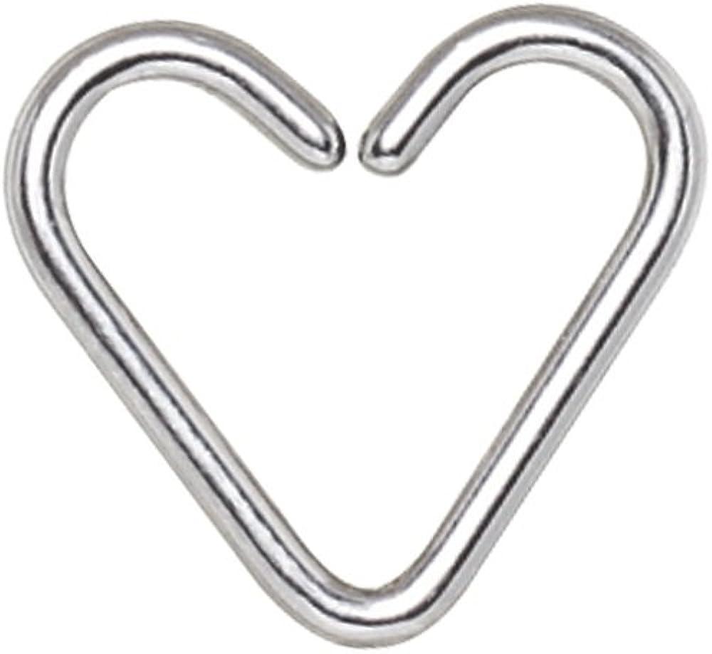 G23 Titanium Heart Shaped Cartilage Helix Tragus Daith Piercing Ring