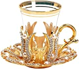 Juego de 6 tazas de té pequeñas hechas a mano estilo turco platillos Set de cucharas con cristales y perlas, color dorado, pequeño 85 ml