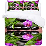 TIZORAX Single Bedding Duvet Cover Set - Stones And Orchid 3 Piece Microfiber Comforter Set Quilt Cover and 2 Pillow Shams for Men Women