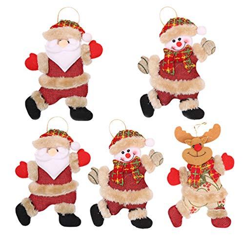 CLISPEED 5 Peças de Árvore de Natal Enfeites de Pelúcia Adorável Boneco de Neve Papai Noel Rena Boneca Árvore Pendurada Pendente para Decoração de Festa de Natal