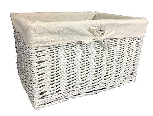 Gran variedad de cestas de mimbre. Forro lavable. Soluciones de almacenamiento. ratán y mimbre, Blanco, 50 ltr