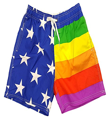 Licensed Mart Men's Rainbow Pride USA Flag Shorts Swim Run Trunks L