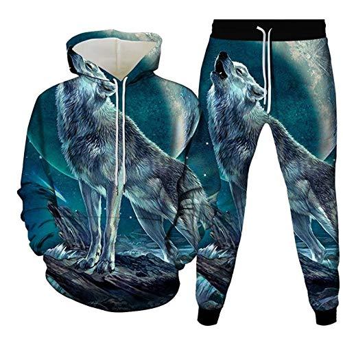 3D Sudaderas Con Capucha Jogger Pantalones,Sudaderas Casuales Con Capucha Conjunto De Chándal Look Up Wolf...