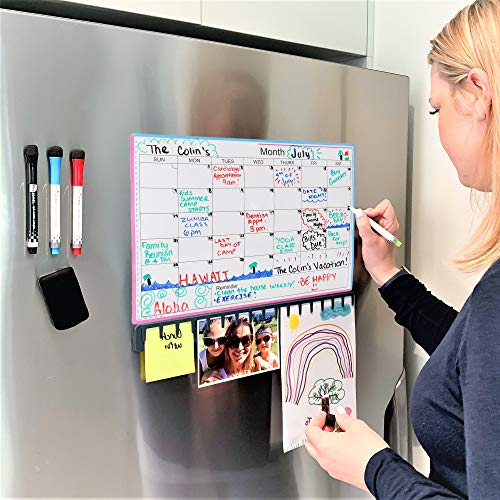 Magnetic Dry Erase Calendar for Refrigerator - Fridge Magnet Whiteboard Monthly Planner 2019 - Large Erasable White Board 30 Day Organizer with 4 Markers & Eraser - Family Month Schedule for Wall