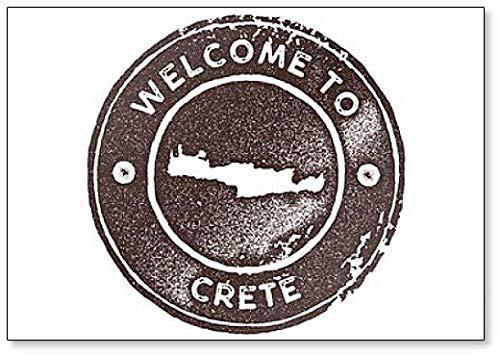 Welkom op Kreta Kaart Vintage. Retro Style - Koelkast Magneet