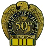 50th Anniversary Vietnam War Pin with Vietnam Service Ribbon, Multicolor, One Size