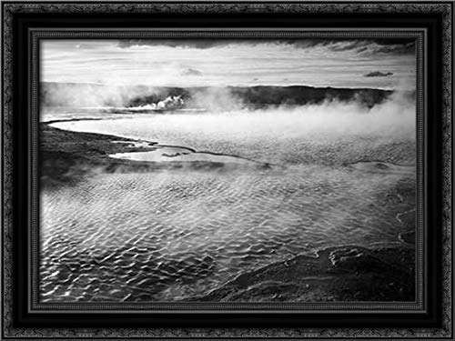 Adams, Ansel 38x28 Black Ornate Framed Canvas Art Print Titled: Surface of Water Presents a Different Texture in Fountain Geyser Pool, Yellowstone National Park, Wy
