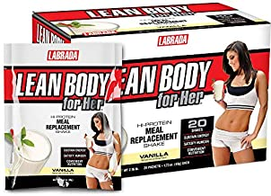 Lean Body for Her All-in-One Vanilla Meal Replacement Shake. 30g Protein, Whey Blend, Just 9g Carbs, 22 Vitamins and Minerals, No Artificial Colours, Gluten Free, (20 MRP Packets)