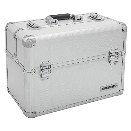anndora® Werkzeugkoffer 24L Präsentationskoffer Etagenkoffer Silber + Schlüssel