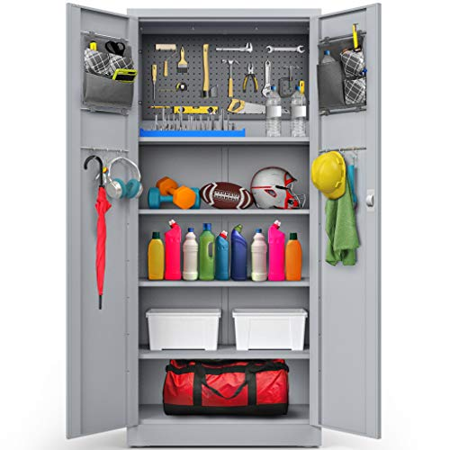 Office And Laundry Room Kitchen Vingli Steel Storage Cabinet 74 Inch Metal Cabinets With Doors And Adjustable Shelves For Garage Accent Furniture Home Kitchen Fcteutonia05 De