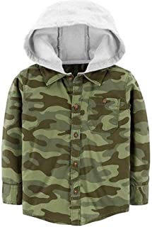 Carter's Toddler Boy Camouflaged Flannel Hooded Button Down Shirt 4-5 Green