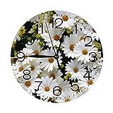 インテリア 掛け時計 雛菊 デージー 花 壁掛け時計 丸い 飾る時計 連続秒針 サイレント ウォールクロック デジタル コンパクト ウォールクロック 部屋 客室 教室 部屋装飾 贈り物 新築 開業
