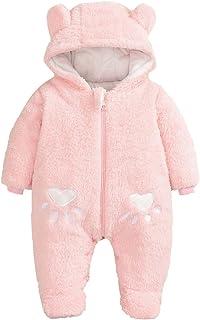 الوليد الرضع طفل الفتيان الفتيات طويلة الأكمام الكرتون الصوف مقنعين رومبير بذلة (Color : PK, Size : 59)