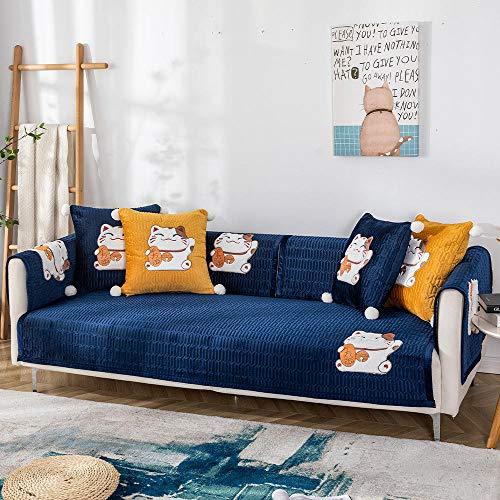 YUTJK Funda De Sofa Antideslizante Durable,Lavable Toalla De Sofá,Fundas De Sofa Sala Estar Apto para Niños Mascota Gato,Juegos de sofá de Felpa de Gato de Dibujos Animados,para Invierno,Azul Marino