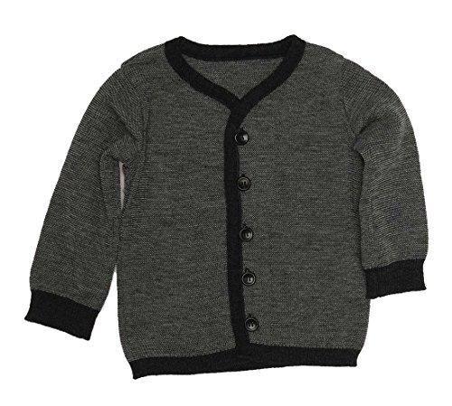 Disana Strick-Jacke Kinder Strick-Pullover 100% Schurwolle (k.b.T.) Bio (86/92, anthrazit/grau Melange)