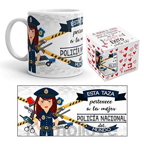 Kembilove Taza de Café de la Mejor Policía Nacional del Mundo – Taza de Desayuno para la Oficina – Taza de Café y Té para Profesionales – Taza de Cerámica Profesiones Policías Nacionales