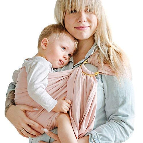Shabany® - Ring Sling Tragetuch - 100{e610a2cbf1e22625f29e6b10c8e054f2f1647001db0c4777db65c3cc2b7c09de} Bio Baumwolle - Babybauchtrage für Neugeborene Kleinkinder bis 15 KG - inkl. Baby Wrap Carrier Anleitung - rosa (cuddles)