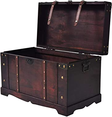 vidaXL Vintage Treasure Chest Wood Storage Trunk Organizer Box Side Stand