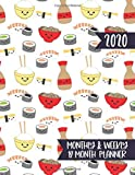 2020 Monthly & Weekly 12 Month Planner: Agenda Calendar for Jan 2020 to Dec 2020 - Cute Kawaii Sushi Pattern