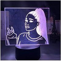 3Dイリュージョンナイトライト 美しい歌手 スマートタッチ LED3Dキッズおもちゃベビースリープデスクランプ寝室の装飾ベッドサイドスマートタッチ7色変化する調光可能、女の子の男の子のための最高のおもちゃの誕生日