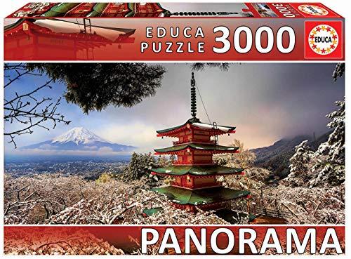 Educa Borras - Serie Panorama, Puzzle 3.000 piezas Monte Fuji y Pagoda Chiureito Japon (18013)