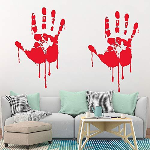 Horror Halloween Decoration Wall Stickers Bloody Fingerprint Blooding Handprint Foot 3D Wallpaper Waterproof Floor Door Decor