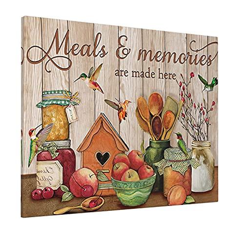 Cuadro decorativo de colibrí para cocina, girasol, impresión motivacional, para decoración del hogar, sala de estar, comedor, dormitorio, cocina, baño, oficina, 30 x 45 cm, enmarcado