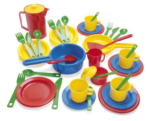 Dantoy 4223 - Set de vajilla y utensilios de cocina de plástico (42 piezas) [importado de Alemania]