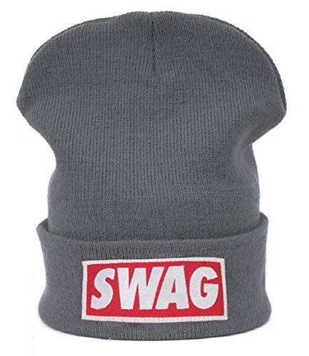 Beanie hat Bonnet Fashion Jersay Oversize Bad Hair Day Bastard Diamond Swag (Swag gray)