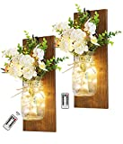 Rustic Mason Jar Wall Decor Sconces Wall Art Home Decor, Lighted Country Farmhouse Nightlight Decorations Wall Sconce with LED Fairy Strip Lights and Flower for Home, Living Room, Birthday Gift