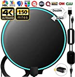 TV Antenna, [ 2020 Updated ] Amplified HD Digital Indoor TV Antenna, TV Aerial 120-150 Miles Range, 4K 1080P HD VHF UHF for Local Channels, 18FT Premium Coaxial Cable