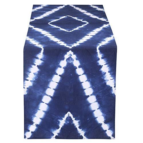 "RAJRANG BRINGING RAJASTHAN TO YOU Japanese Indigo Shibori Dye Table Runner - Rustic Boho Ethnic Hand Tie Dye Decorative Dinning Tablecloth Mat for Birthday Party Supplies 12"" X 108"""