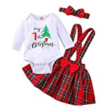Newborn Baby Girls Clothes My 1st Christmas Romper Top+Suspender Skirt+Headband Outfit Set (Red Plaid, 0-3 Months)