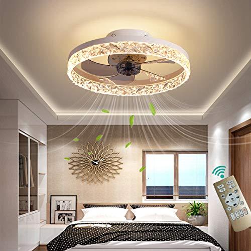 YAOXI - Ventilador de techo LED con mando a distancia, silencioso, para dormitorio, ventilador de techo con luz para salón, moderno, regulable, 50 cm, ventilador de techo con iluminación, color blanco