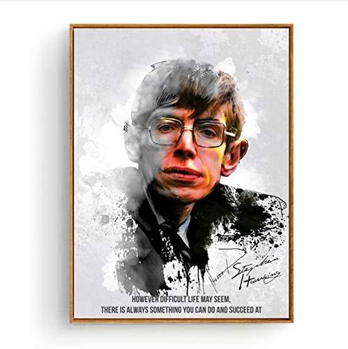 shuimanjinshan Carteles e Impresiones Stephen Hawking Lienzo póster Arte de Pared y Arte Lienzo Pintura Impresiones Cuadro de Pared para decoración de habitación 50X70Cm sin Marco Poster(K1263)
