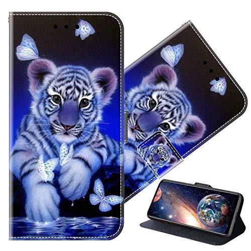 Cherfucome Funda para Xiaomi Mi A2 Carcasa Libro Flip Case Magnético Funda de Cuero PU Carcasa Xiaomi Mi A2 Funda Móvil Case Flip Leather Wallet [B10*Tigre]