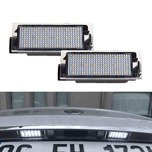 YUGUIYUN Car License Number Plate Lights Assembly Rear Lamps 2pcs 18 LED Error Free Bright White Lamps for Clio Megane Twingo II Lagane II5D Vel Satis Master