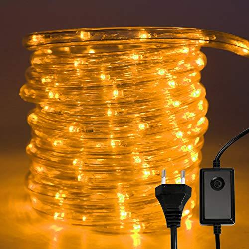 Hengda LED Lichterschlauch, Gelb 10M 240 LEDs Aussen LED Schlauch mit 8 Modi und Timer, Wasserdicht Lichtschlauch für Außen Innen Garten Party Hochzeit Weihnachts Deko