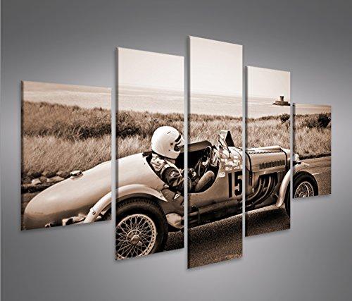 Quadro moderno Auto da corsa macchina da corsa di seppia Vintage Classic Oldie Stampa su tela - Quadro x poltrone salotto cucina mobili ufficio casa - fotografica formato XXL Quadri