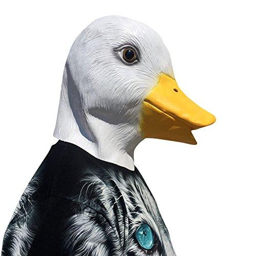 thematys Ente mit Schnabel Maske - perfekt für Fasching, Karneval & Halloween - Kostüm für Erwachsene - Latex, Unisex Einheitsgröße