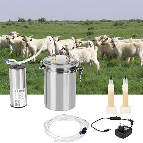 HEEPDD 2L Elektrische Melkmaschine Tragbare Vakuum Pulse Pumpe Kuh Melkvorrichtung Edelstahl Melker Eimer Tank Barrel Lebensmittelqualität Schlauch für Schafe Kühe Ziege EU Plug 110-240V(für Schafe)