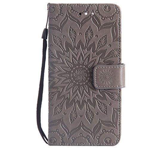 Karomenic kompatibel mit Huawei P10 Plus PU Leder Hülle Prägung Sonnenblume Muster Handyhülle Brieftasche Silikon Schutzhülle Klapphülle Magnet Ledertasche Wallet Flip Case Etui,Grau