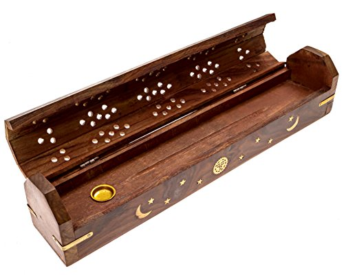 Alternative Imagination Sun, Moon, and Stars Brass Inlay Design - Wooden Coffin Incense Burner for Incense Sticks and Cones, with Storage Compartment
