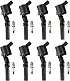 ENA Set of 8 Spark Plugs and 8 Ignition Coils compatible with 2000-2011 Ford F-150 Lincoln Town Car Mercury Grand Marquis Expedition Explorer E-150 Crown Victoria 4.6L V8 FD503 SP413