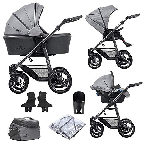 Venicci Carbo Lux 3-in-1 Travel System (9 Piece Bundle) – Natural Grey - with Carrycot + Car Seat + Changing Bag + Footmuff + Raincover + 5-Point Harness and UV 50+ Fabric + Car Seat Adapters